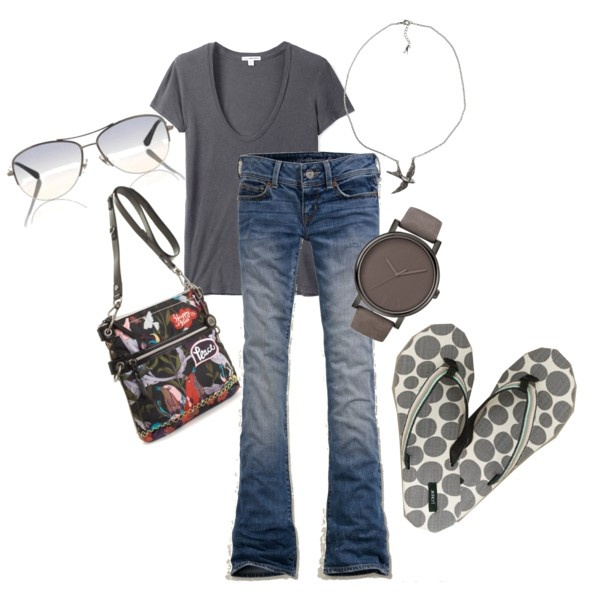 Gray Birds, created by #pbmhuck on #polyvore. #fashion #style James Perse American Eagle Outfitters