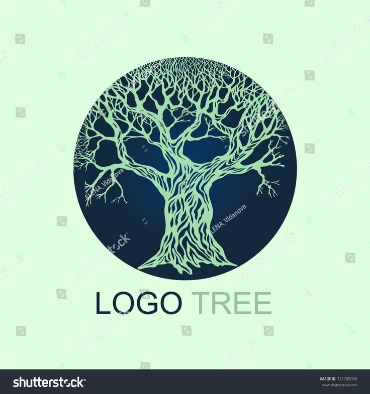 Stylish and modern logo in the form of an old tree in a circle. Logo can be used for organizations related to ecology, energy conservation, eco-corporations, etc.