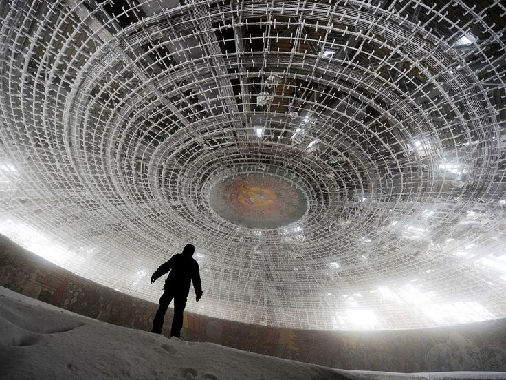 The Buzludzha Monument was built toward the end of the Cold War by the Bulgarian communist regime, who hoped it would serve as a prominent and official headquarters for the Bulgarian Communist Party. The UFO-esque building was the site of many state functions, with Lenin and Marx posters and a red-star ceiling setting the ambiance. Though the monument was abandoned and closed to the public in 1989, sneaky explorers continue to venture in to gaze at the otherworldly dome.