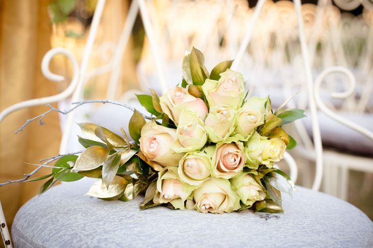 Gorgeous wedding bouquet with touches of gold. www.casablancamanor.co.za