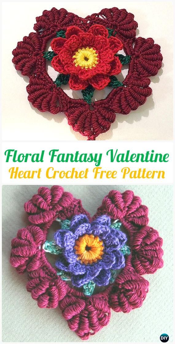 CrochetFloral Fantasy Valentine Heart FreePattern- #Crochet Heart Applique Free Patterns
