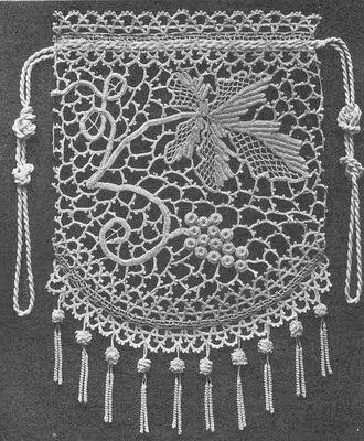 Irish Lace Crochet Purse Love