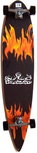 """KROWN Longboards RED FLAME COMPLETE Longboard SALE!!! by Krown. $54.99. Krown Red Flame Pintail Longboard. The deck is 9"""" x 43"""" and has wheel cutouts to reduce wheel bites. This is a very popular shape, and manufactured by one of largest longboard makers. This is a pre-assembled complete. The components included are 6.0 Aluminum alloy trucks, with Abec 7 Bearings and 70mm Black Wheels. This complete sells for $99.99 most places."""