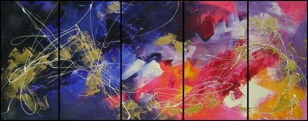 5 piece abstract painting by Sej.  www.facebook.com/ArtOfSej