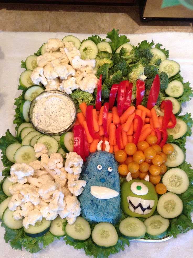 vegetable tray we made for a monster inc baby shower used rice dyed