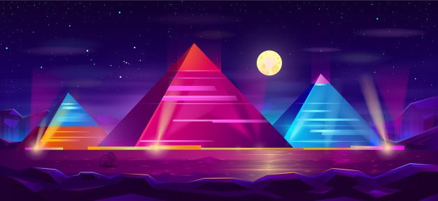 Download Egyptian Pyramids Night Landscape Cartoon For Free Night Landscape Egyptian Pyramids Photographer Business Card Template