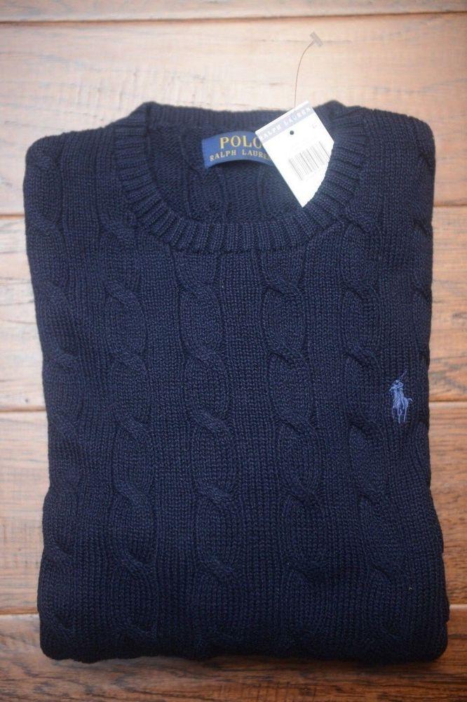 008d2e1a005f23 NWT Polo Ralph Lauren Men's Crew Neck Cable Knit Navy Blue Cotton Sweater L  712169571665 | eBay