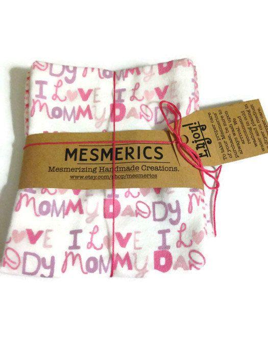 Pink Burp Cloths Set Mom Dad Grandma Pink Baby Girl by Mesmerics