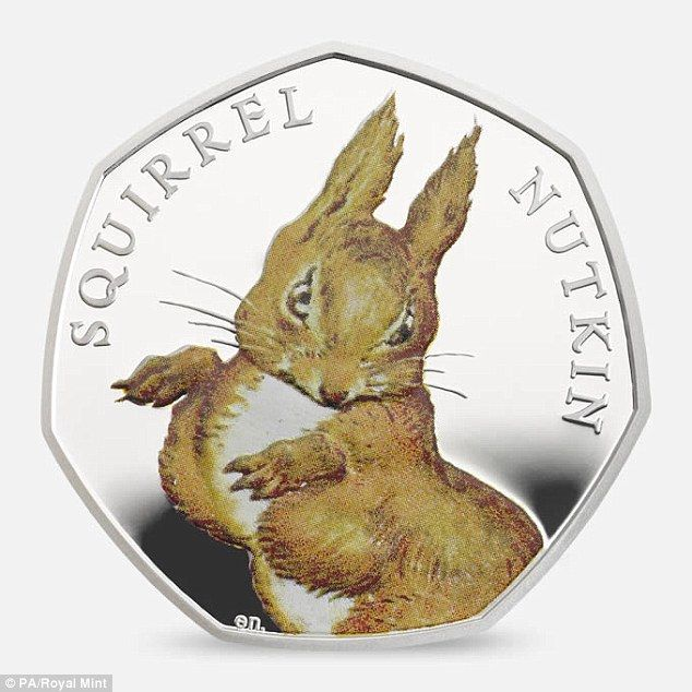 Jemima Puddle-Duck, Squirrel Nutkin (pictured) and Mrs Tiggy-Winkle are featured on other coins being sold by the Royal Mint for £55