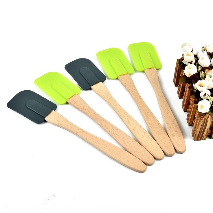 baking DIY tools pastry scraper silicone spatula cream chocolate scrapers dessert shovel Wood Handle #Affiliate