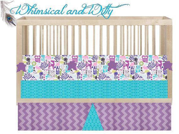 Custom crib bedding quot hoot owl quot aqua purple pink owl hand made to