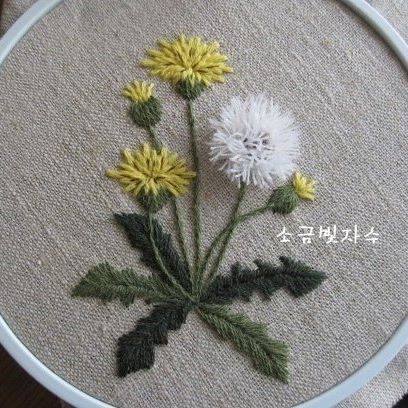 Embroidered Dandelions.