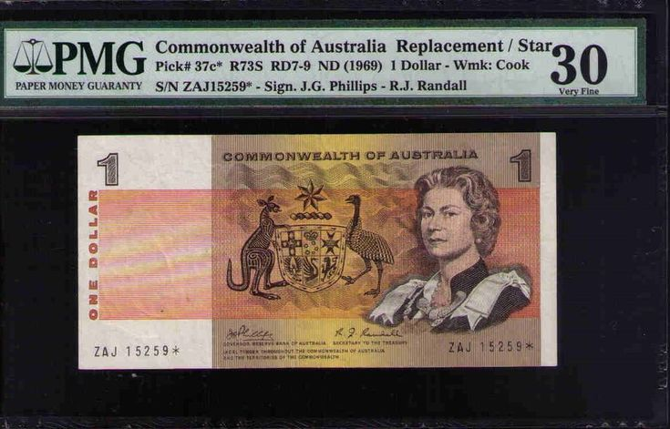 Commonwealth of Australia STAR NOTE Pick#37c R73S 1969 $1 Phillips Ran PMG 30 VF