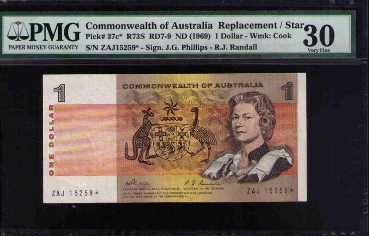 Commonwealth of Australia STAR NOTE Pick#37c R73S 1969 $1 Phillips Ran PMG 30 VF