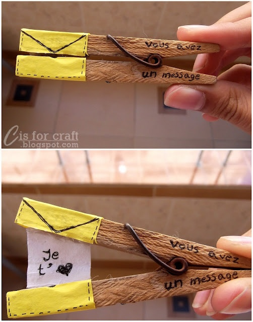 cute message in a clothespin: could be cute for  a close up wedding picture or engagement shot