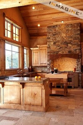 Love the ceiling and stone in this rustic kitchen.: Stove, Idea, Dreams Kitchens, Wood, Cabins Kitchens, Rustic Kitchens, Home Kitchens, Mountain Home, Stones