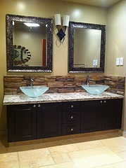 Perfect Home  Bathroom  49quot Travertine Vanity Backsplash