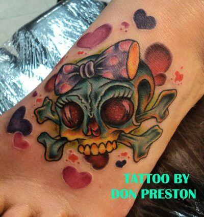 Girlie Skull Tattoo by Don Preston