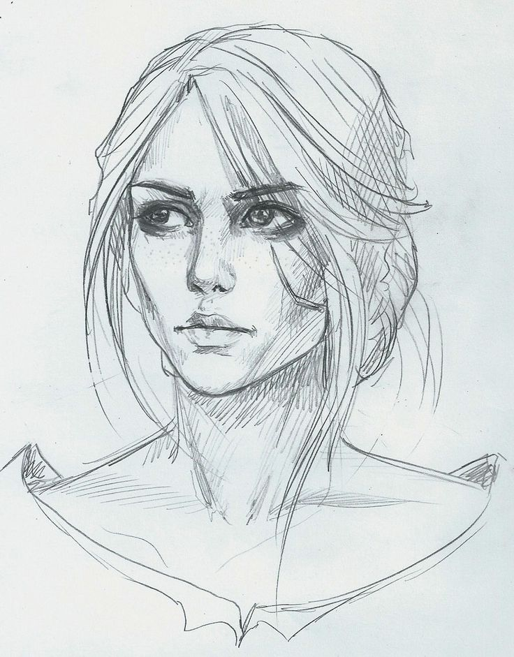 illustration, sketch, карандаш, caricature, девушка, цири, witcher3