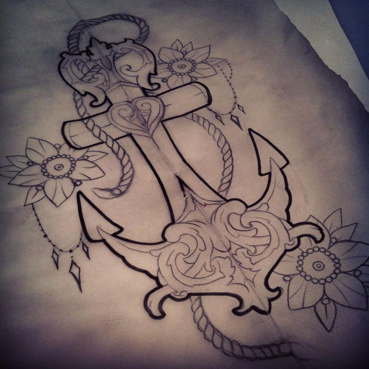 Feminine anchor tattoo design by Marita Butcher. A little too ornate for me, but I like the added detail