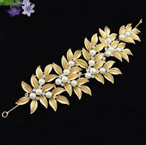 Μοναδική Νυφική Διακόσμηση Μαλλιών σε Χρυσαφί με σχέδιο Φύλλα, Μαργαριτάρια και Λευκά Κρύσταλλα - www.memoirs.gr