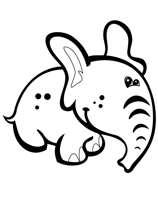 Elephants With Big Ears Coloring Pages For Kids Printable