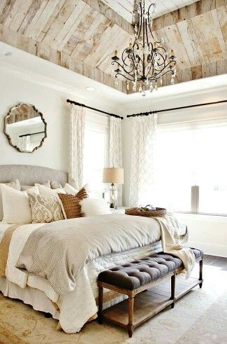This bedroom..with that ceiling & chandelier