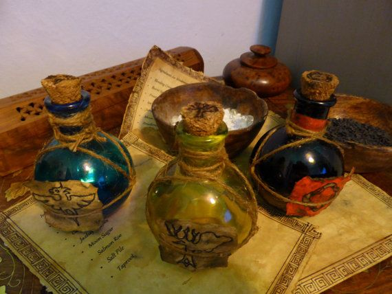 Skyrim Inspired Potion Bottles and Ingredients list - Fortify Carry Weight, Regenerate Magicka or Weakness to Fire. on Etsy, Sold