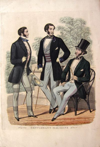 1850s Men's fashion-Transitioning from the Beau Brummel look towards the Victorian.  Yes. men wore girdles and stomachers.  Spanx of their day were a necessity, but only the Butler knew for sure...