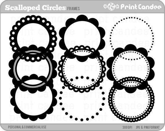 Scalloped Circle Frames - Personal and Commercial Use - digital clipart frames clip art on Etsy, $3.50