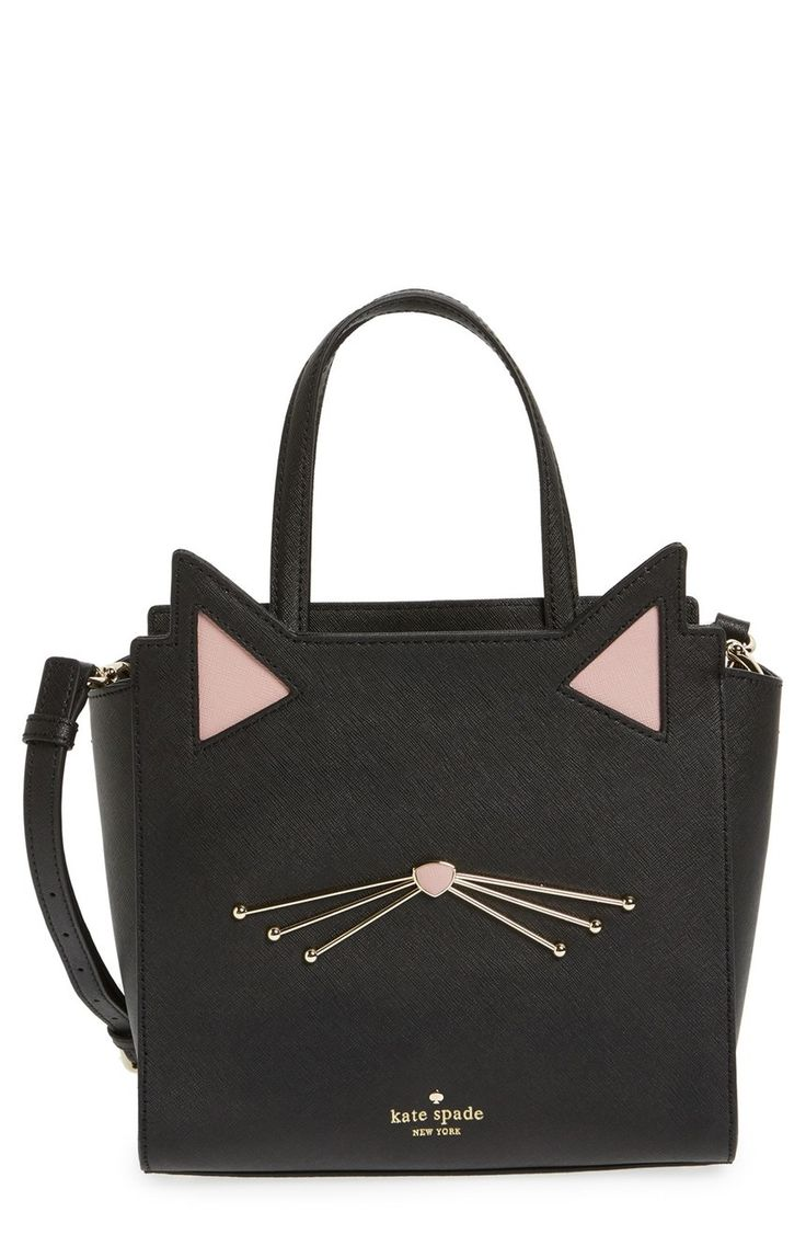 Cute ears and whiskers lend jaunty feline charm to this lavish Kate Spade satchel polished with gleaming goldtone accents.
