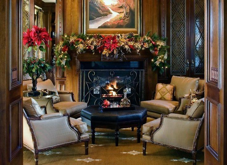 décorations de Noël à l'américaine: manteau cheminée avec étoile de Noël