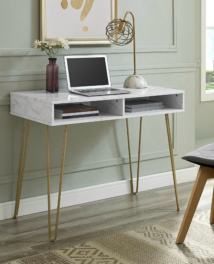 15 Gorgeous Desks That Work Well In Small Spaces In 2020 Cheap Office Furniture Desks For Small Spaces Marble Desk