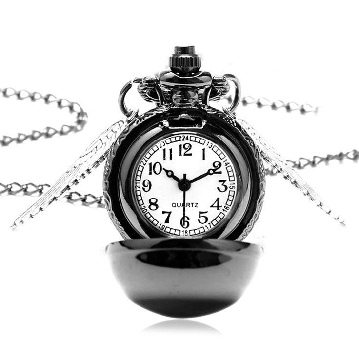 Fashion Black Snitch Pocket Watch With Necklace Chain Quidditch Gift To Kids Girls Reloj De Bolsillo #Affiliate