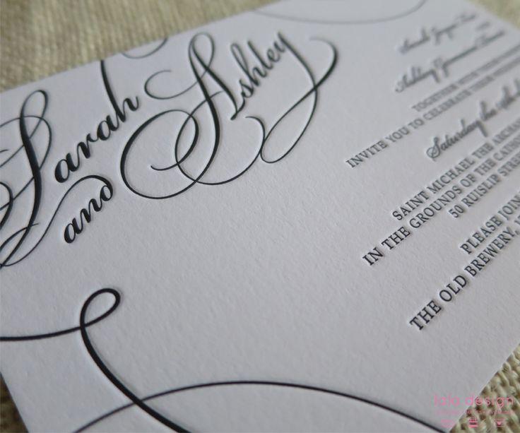 Sarah & Ashley Black Letterpressed Invite