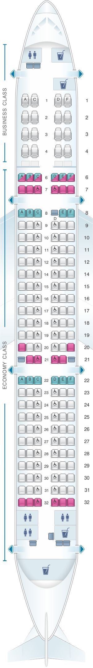 Seat Map SriLankan Airlines Airbus A321 231