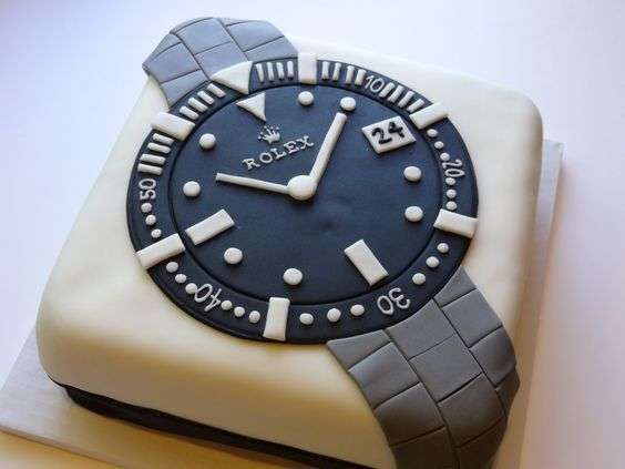 Rolex Watch Cake Shared by Career Path Design Birthday Cakes For Men, Cakes For Boys, Cake Design For Men, Fathers Day Cake, Unique Cakes, Novelty Cakes, Occasion Cakes, Cupcake Cookies, Cupcakes