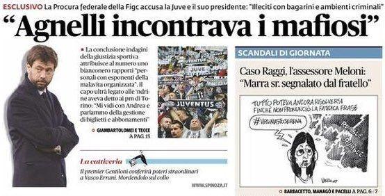 """Il Fatto Quotidiano diretto da Marco Travaglio ha aperto il suo giornale con un articolo dal titolo """"Agnelli incontrava i mafiosi"""" (foto), un attacco front"""