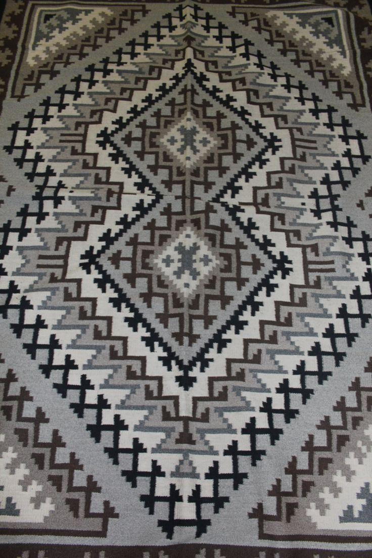 Native American Rug by Marie Barber, Navajo Two Grey Hills Weaving #93