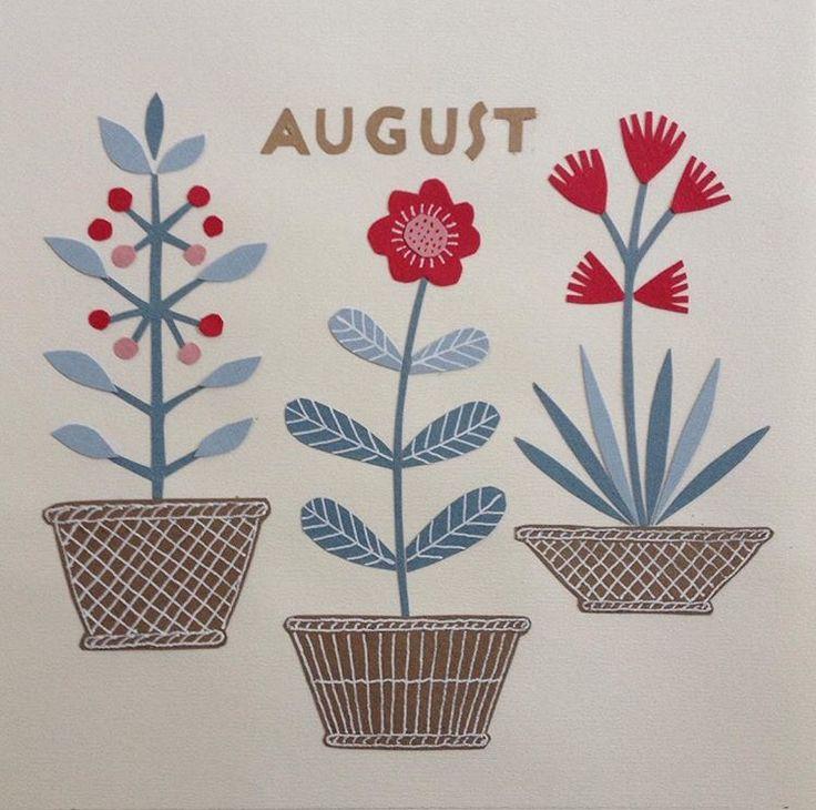 Calendar picture, August. Paper cut.
