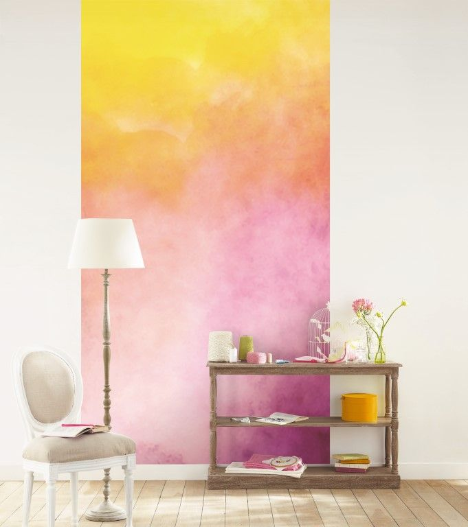 A bright painterly effect gives this yellow/pink wallpaper mural a casual look. From the Trendy Panels range, Floute TDP65084030. This is a Guthrie Bowron exclusive range in NZ.