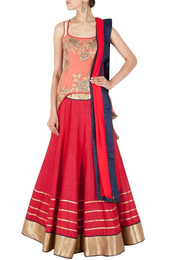 Peach and Red Party wear chaniya choli or by PanacheHauteCouture