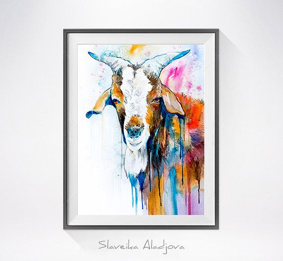 Goat 2 watercolor  painting print, goat art, animal illustration, animal watercolor, Ovis aries, Capra, animals paintings, portrait,