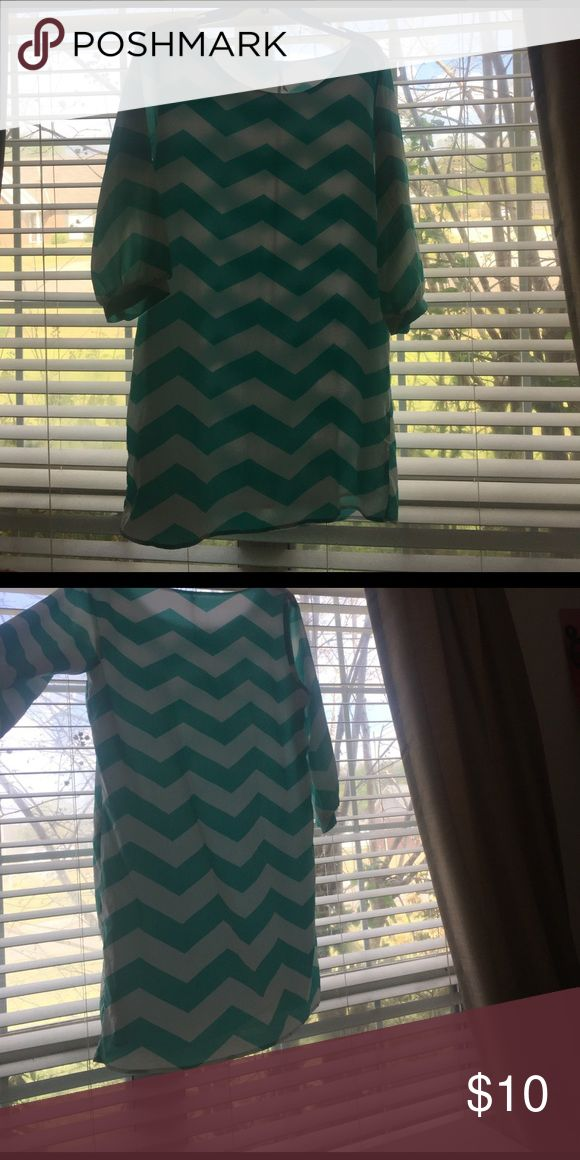 Blue chevron dress!!! Super adorable blue chevron dress, looks cute with sandals or in the fall with leggings underneath & boots!! Not as short as it looks, it comes down to my knees and i am 5'2 Miami Dresses