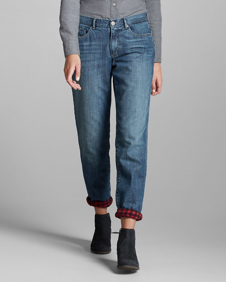 I've always wanted some of these!! Women's Flannel-lined Jeans - Boyfriend | Eddie Bauer