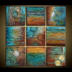 Original Abstract Painting - Abstract Art - TEXTURED Painting - Shades of Turquoise, Brown, Rust, Golden Amber and White - by Marie - 9pc
