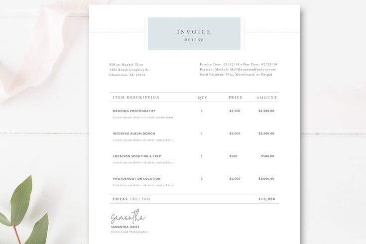 Photography Invoice Receipt Form for Photoshop, Photographer Invoice Template, Wedding Photography, Instant Download, By Stephanie Design