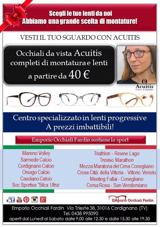 Da Emporio Occhiali Fardin una imperdibile promozione, se scegli una montatura della collezione ACUITIS, puoi avere l'OCCHIALE DA VISTA COMPLETO a partire da 40,00 euro! Emporio Occhiali Fardin è anche Centro Specializzato in lenti progressive a prezzi imbattibili... Venite a trovarci in negozio e troverete sicuramente l'occhiale e la promozione che fa per voi. #emporioocchialifardin #occhiali