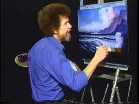 """Bob Ross and """"The Joy of Painting:"""" - doing one of his famous seascapes technique - just watch - so easy - you can do it - web source - MR"""