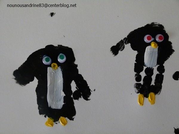 Pingouin empreinte de mains